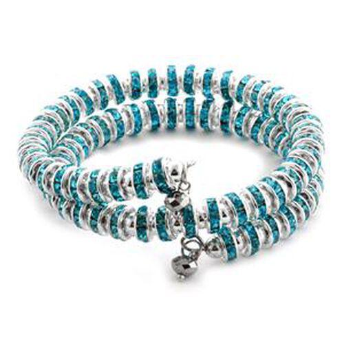 Turquoise Colour Austrian Crystal, Silver Austrian Crystal Bracelet  0.002  Ct.
