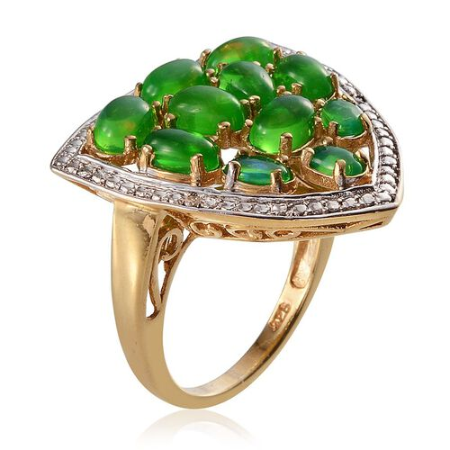 Green Ethiopian Opal (Ovl), Diamond Ring in 14K Gold Overlay Sterling Silver 4.020 Ct.