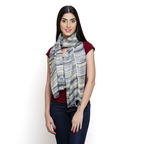 100% Viscose Grey and Multi Colour Printed Scarf (Size 180x55 Cm)
