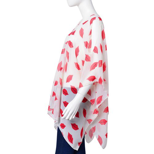 Red and White Colour Lips Pattern Poncho (Free Size)