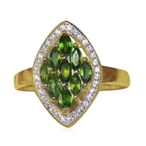 Green Sapphire (Mrq), White Topaz Ring in 14K Gold Overlay Sterling Silver 2.000 Ct.