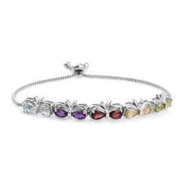 Sky Blue Topaz (Pear), Mozambique Garnet, Amethyst, Citrine and Hebei Peridot Adjustable Bracelet (Size 6 to 9) in Platinum Bond 4.000 Ct.