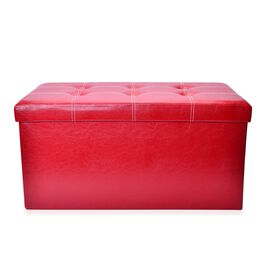 Red Colour Faux Leather Foldable Large Storage Ottoman with Padded Seat  (Size 75x38x38 Cm)