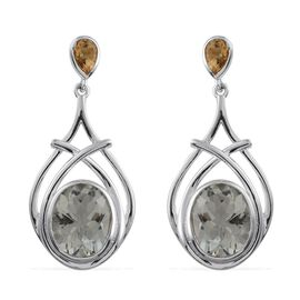 Green Amethyst (Ovl), Citrine Earrings (with Push Back) in Platinum Overlay Sterling Silver 8.250 Ct.
