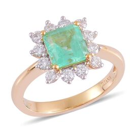 14K Y Gold Boyaca Colombian Emerald (Oct 1.25 Ct), Diamond Ring 1.750 Ct.