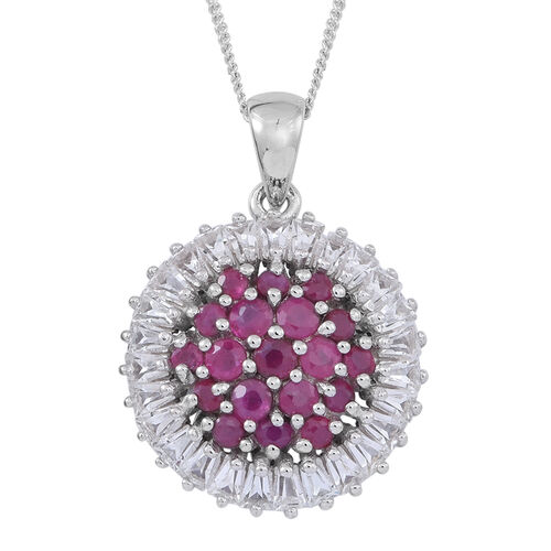 Burmese Ruby (Rnd), White Topaz Pendant With Chain in Rhodium Plated Sterling Silver 2.750 Ct.