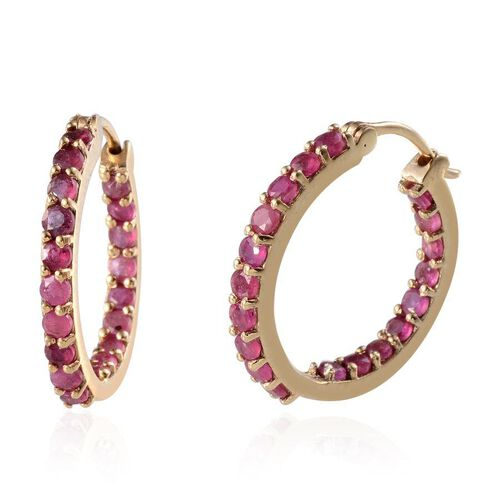 Webex - African Ruby (Rnd) Hoop Earrings (with Clasp) in 14K Gold Overlay Sterling Silver 3.250 Ct.