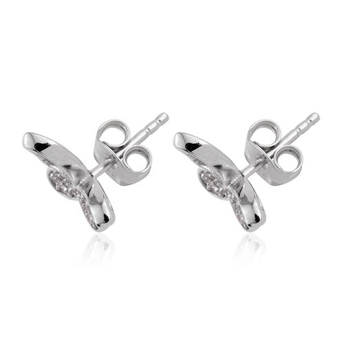 Kimberley Butterfly Collection Natural Cambodian Zircon (Rnd) Butterfly Earrings (with Push Back) in Platinum Overlay Sterling Silver