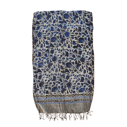 Floral Pattern White and Blue Colour 100% Silk Scarf (Size 150x45 Cm)
