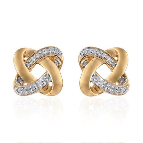 0.15 Carat Diamond Knot Stud Earrings  in 14K Gold Overlay Sterling Silver