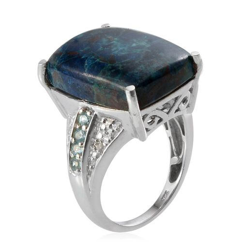 Table Mountain Shadowkite (Cush 17.25 Ct), Paraiba Apatite and Diamond Ring in Platinum Overlay Sterling Silver 17.520 Ct.