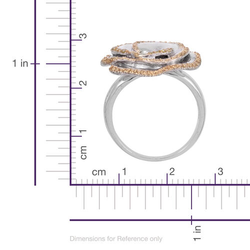 Treated Canary Diamond (Rnd) Rose-Design Ring in Platinum Bond 0.100 Ct.