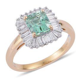 ILIANA 18K Y Gold Boyaca Colombian Emerald (Oct 1.39 Ct), Diamond Ring 2.060 Ct.