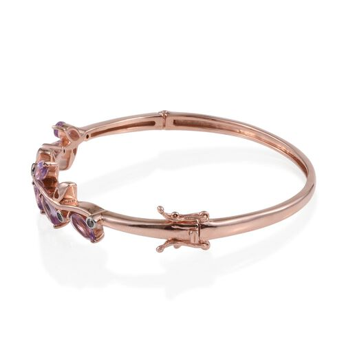 Rose De France Amethyst (Mrq), Natural Cambodian Zircon Leaves Bangle (Size 7.5) in Rose Gold Overlay Sterling Silver 3.500 Ct.