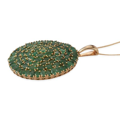 Kagem Zambian Emerald (Ovl) Cluster Pendant With Chain in 14K Gold Overlay Sterling Silver 17.500 Ct.