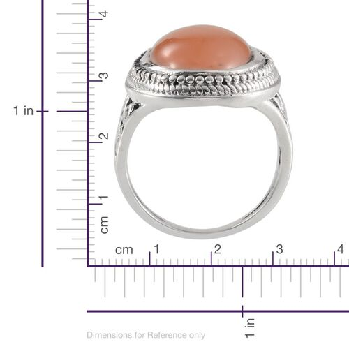 Jewels of India Mitiyagoda Peach Moonstone (Ovl) Solitaire Ring in Sterling Silver 8.800 Ct.
