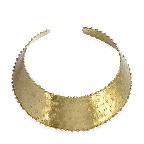 Jewels of India Embossed Choker, Hook Earrings and Cuff Bangle