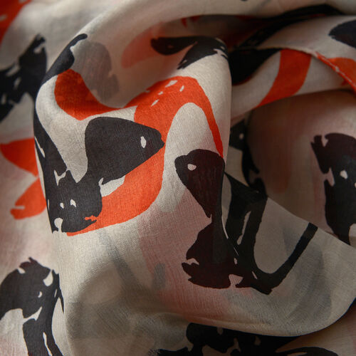 100% Mulberry Silk Orange and Black Colour Abstract Pattern Beige Colour Scarf (Size 175x100 Cm)Scarves