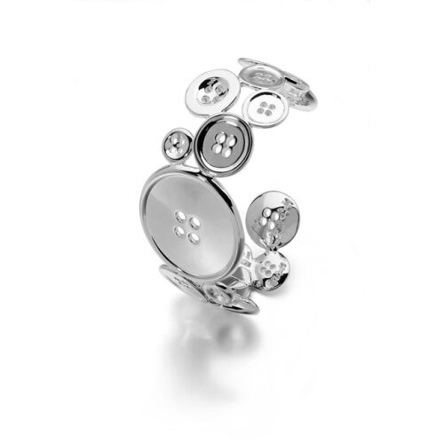 LucyQ Button Bangle in Sterling Silver (Size 7.5) 72.16 Gms.