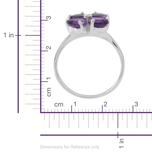 Amethyst (Hrt), White Topaz Floral Ring in Sterling Silver 2.500 Ct.