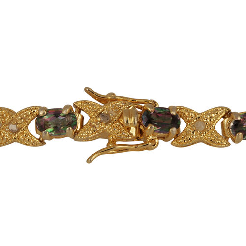 Northern Lights Mystic Topaz (Ovl), Diamond Bracelet (Size 7.75) in Gold Bond 6.600 Ct.