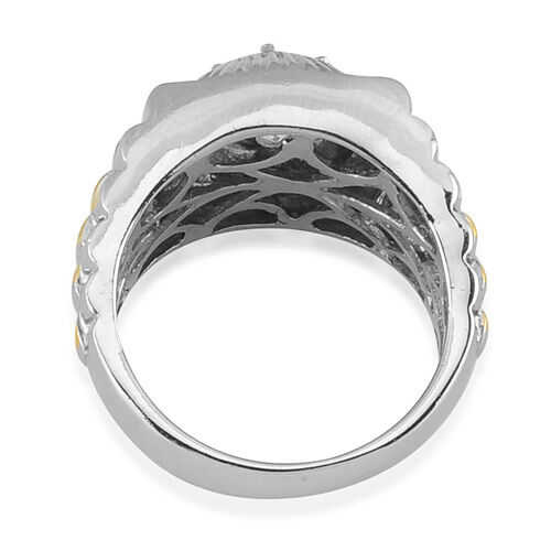 J Francis- Platinum Overlay Sterling Silver (Rnd) Ring Made with SWAROVSKI ZIRCONIA