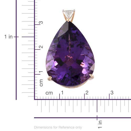9K Y Gold AAA Zambian Amethyst (Pear), Diamond Pendant  40.200 Ct.