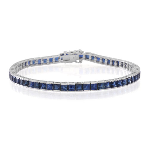 9K White Gold 10.50 Carat Kanchanaburi Blue Sapphire Princess Tennis Bracelet Size 7.5 Inches.