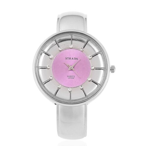 STRADA Japanese Movement White Austrian Crystal Studded Purple and Silver Dial Water Resistant Bangle Watch in Silver Tone with Stainless Steel Back