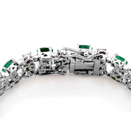 AAA Kagem Zambian Emerald (Ovl), Diamond Bracelet in Platinum Overlay Sterling Silver (Size 7.5) 11.020 Ct.