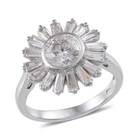 J Francis - Platinum Overlay Sterling Silver (Rnd) Ring Made With SWAROVSKI ZIRCONIA 2.720 Ct.