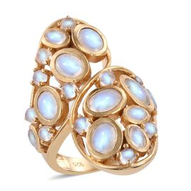 Designer Inspired Rainbow Moonstone (Ovl) Crossover Ring in 14K Gold Overlay Sterling Silver 8.500 Ct. Silver wt 12.00 Gms
