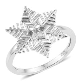 Platinum Overlay Sterling Silver Snowflake Ring