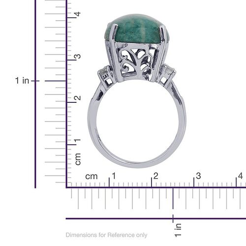 Russian Amazonite (Ovl 11.75 Ct), White Topaz Ring in Platinum Overlay Sterling Silver 12.500 Ct.