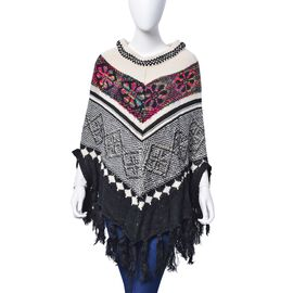 Black, White and Multi Colour Floral Pattern Poncho with Squins and Tassels (Size 85x70 Cm)