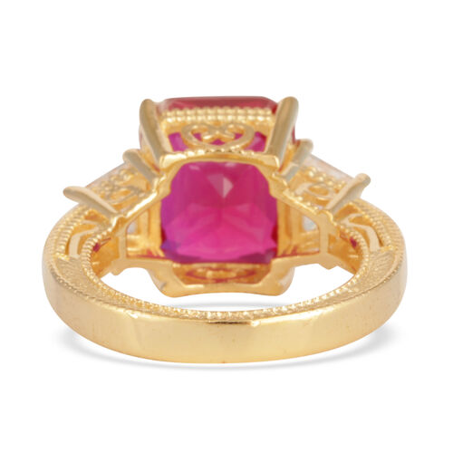 ELANZA AAA Simulated Ruby (Oct), Simulated Diamond Ring in 14K Gold Overlay Sterling Silver