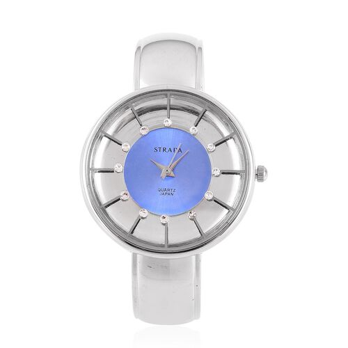 STRADA Japanese Movement White Austrian Crystal Studded Blue and Silver Dial Water Resistant Bangle Watch in Silver Tone with Stainless Steel Back