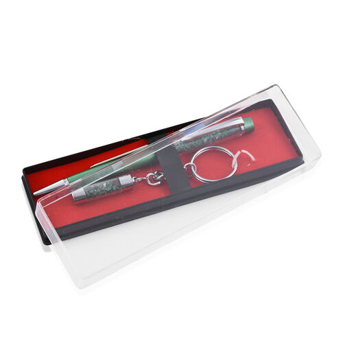 Emerald Filled Ball Point Pen and a Key Chain Set with Extra Refill (Emerald 20.00 Ct)