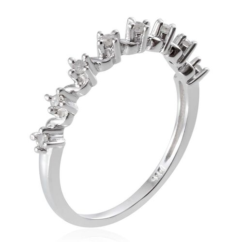 Diamond (Rnd) Stackable Half Eternity Ring in Platinum Overlay Sterling Silver 0.150 Ct.