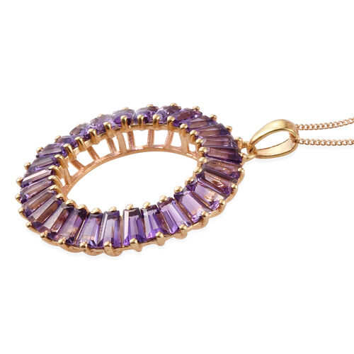 AA Lusaka Amethyst (Bgt) Circle Pendant With Chain in 14K Gold Overlay Sterling Silver 6.000 Ct.