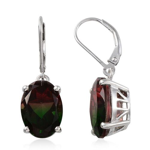 Tourmaline Colour Quartz (Ovl) Lever Back Earrings in Platinum Overlay Sterling Silver 11.500 Ct.