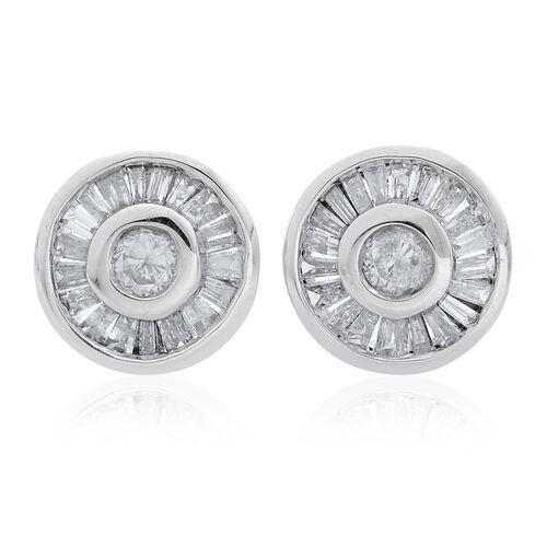 9K White Gold 0.45 Carat Diamond Halo Stud Earrings SGL Certified I3 G-H.