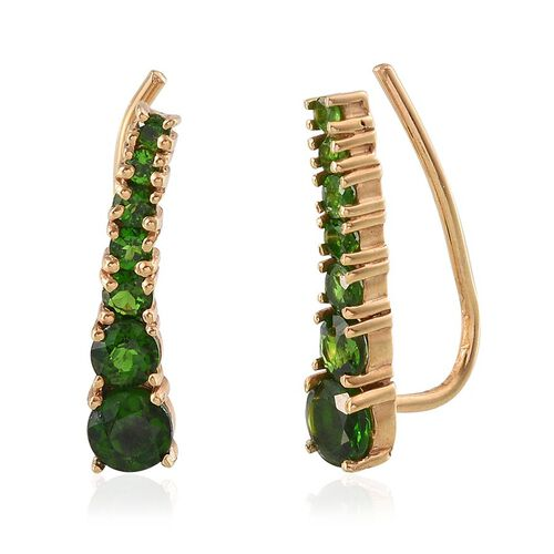 Russian Diopside (Rnd) Climber Earrings in 14K Gold Overlay Sterling Silver 2.750 Ct.