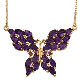 Natural Uruguay Amethyst (Mrq) Butterfly Pendant With Chain (Size 18) in 14K Gold Overlay Sterling Silver 6.000 Ct.