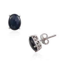 JCK Vegas Collection Kanchanaburi Star Blue Sapphire (Ovl) Stud Earrings (with Push Back) in Platinum Overlay Sterling Silver 5.25 Ct.