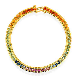 AAA Pink Sapphire, Blue Sapphire, Green Sapphire, Yellow Sapphire, Red Sapphire and Orange Sapphire Bracelet in 14K Gold Overlay Sterling Silver (Size 6.5) 7.000 Ct.
