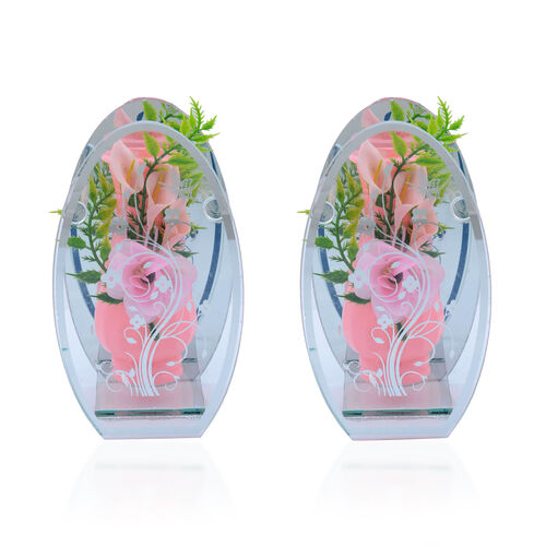 Home Decor - Set of 2 - Pink Colour Flower Vase with Artificial Flowers in Floral and Butterfly Print Glass