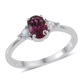 ILIANA 18K W Gold Rare Rubelite (Ovl 0.80 Ct), Diamond Ring 1.000 Ct.