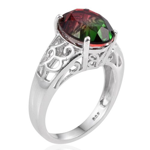 Tourmaline Colour Quartz (Ovl) Solitaire Ring in Platinum Overlay Sterling Silver 5.500 Ct.