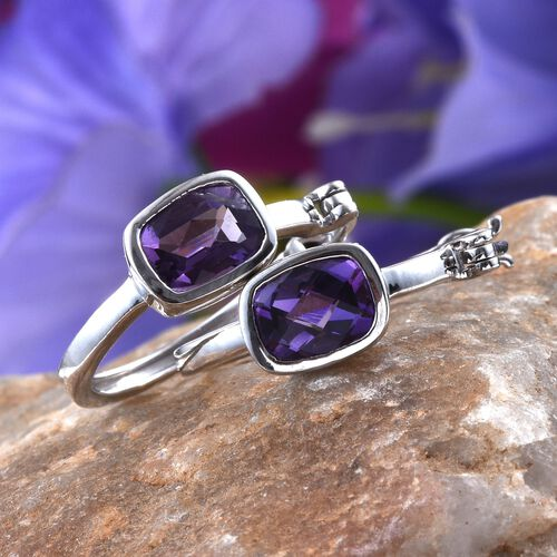 AA Lusaka Amethyst (Cush) Hoop Earrings (with Clasp) in Platinum Overlay Sterling Silver 2.250 Ct.